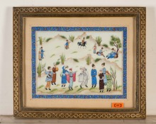 Persian Hand-Painted Suratgari Watercolour in Bone Marquetry Khatam Frame